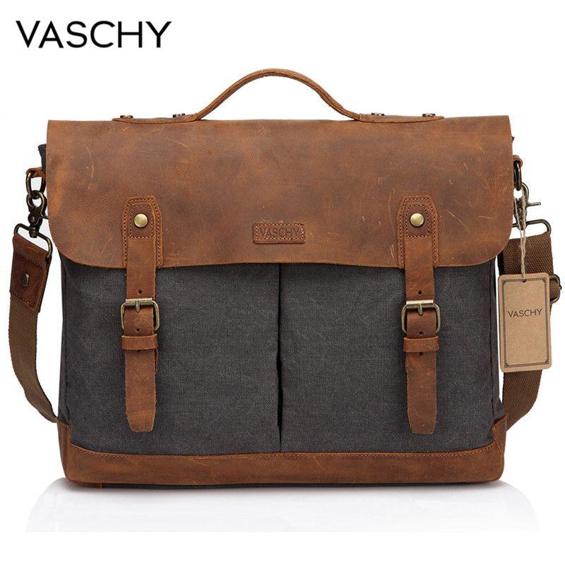 VASCHY Casual Men's Briefcase Business Messenger Bag Cowhide Leather Canvas Shoulder Bag 15.6 Inch Laptop Handbag For Men