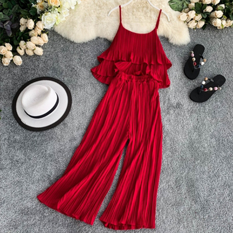 2019 Summer Set Chiffon Pleated Ruffled Sling Top Wide-leg Pant Women 2pcs Casual Sets Solid Color Women Loose 2pcs Aa925