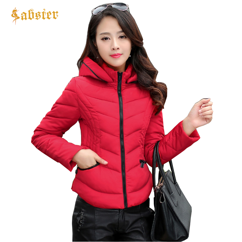 2018 New Style Hooded Women Winter Jacket Short Cotton Padded Womens Coat Casual Slim Long Sleeve Thick Jacket Women   Parkas