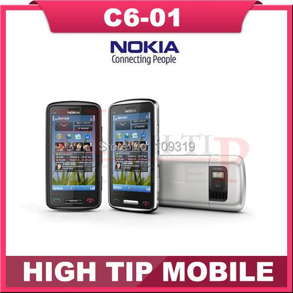 Teléfono móvil Nokia C6-01, reformado capacitiva pantalla táctil de la cámara 8.0MP abrió el teléfono móvil