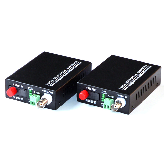 1 Pair 2 Pieces/lot 1 Channel Fiber Optic Video Converter Transmitter & Receiver 1CH +RS485 Data