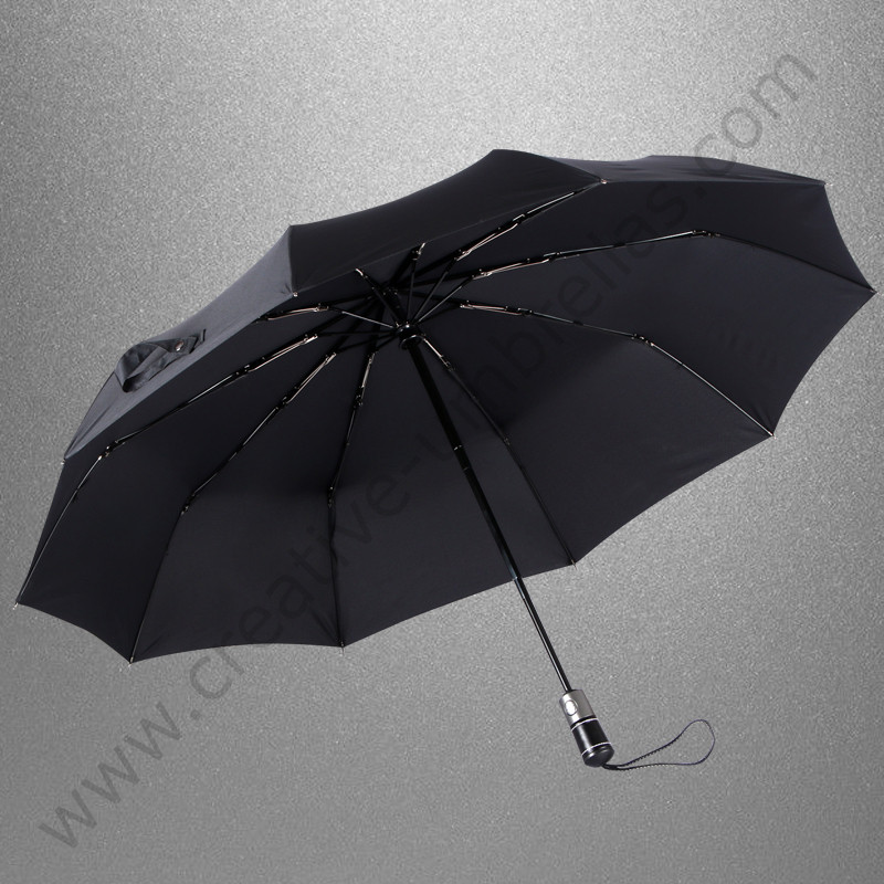 104cm three fold auto open auto close 10 fiberglass anti thunder windproof commercial genuine leather umbrella business parasol in Umbrellas from Home Garden