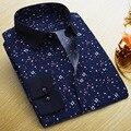 Летние Новые Люди Вскользь Рубашки Моды С Длинным Рукавом Марка Отпечатано мужской Плюс Размер Формальные Бизнес Горошек Цветочные Мужчины Платье рубашка