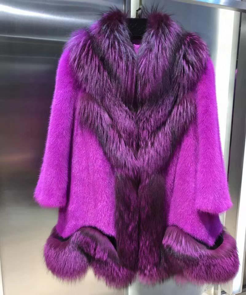 Fourrure de vison de luxe épissé avec manteau de fourrure de renard belle couleur pourpre incroyable manteau d'hiver pour les femmes élégant long manteau extravagant