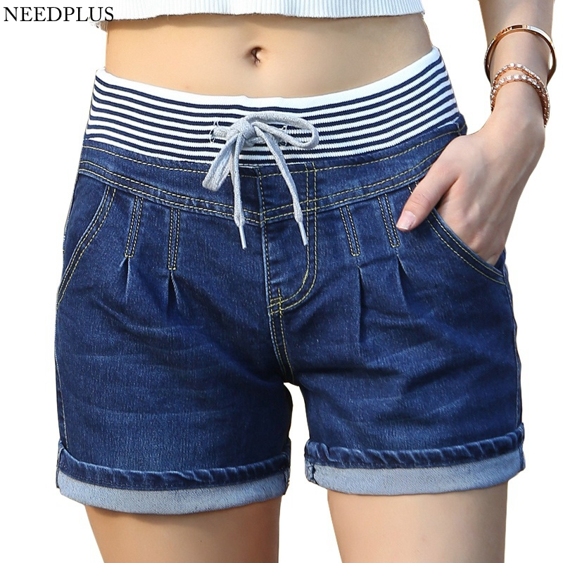 2019 Women's   Shorts   Women Cotton High Waisted Denim   Shorts   Plus Size Ladies Elastic Waist Denim   Shorts   Jeans For Women