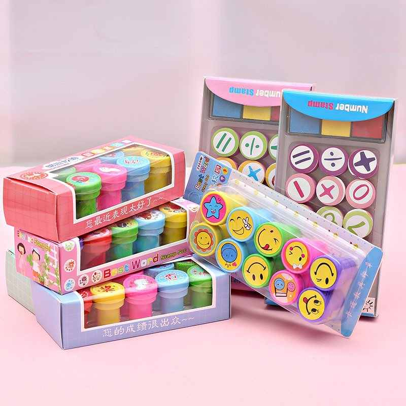 10Pcs Kids Birthday Party Toys Goody Bag Pinata Fillers Self-ink Stamps Kids Party Favors Event Supplies Cartoon Seal Gifts