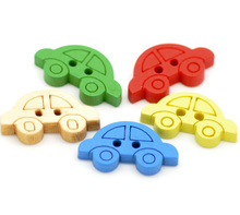 Hoomall Fashion 200 Mixed Car Shape 2 Holes Wooden Buttons Sewing Accessories 19x11mm Sewing Accessories