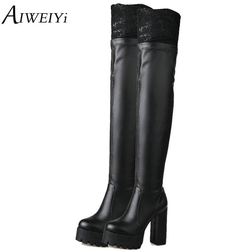 AIWEIYi nouvelles femmes en cuir PU souple sur les genoux bottes dentelle Sexy sabot talons femmes chaussures Soild hiver chaud bottes chaussures noires