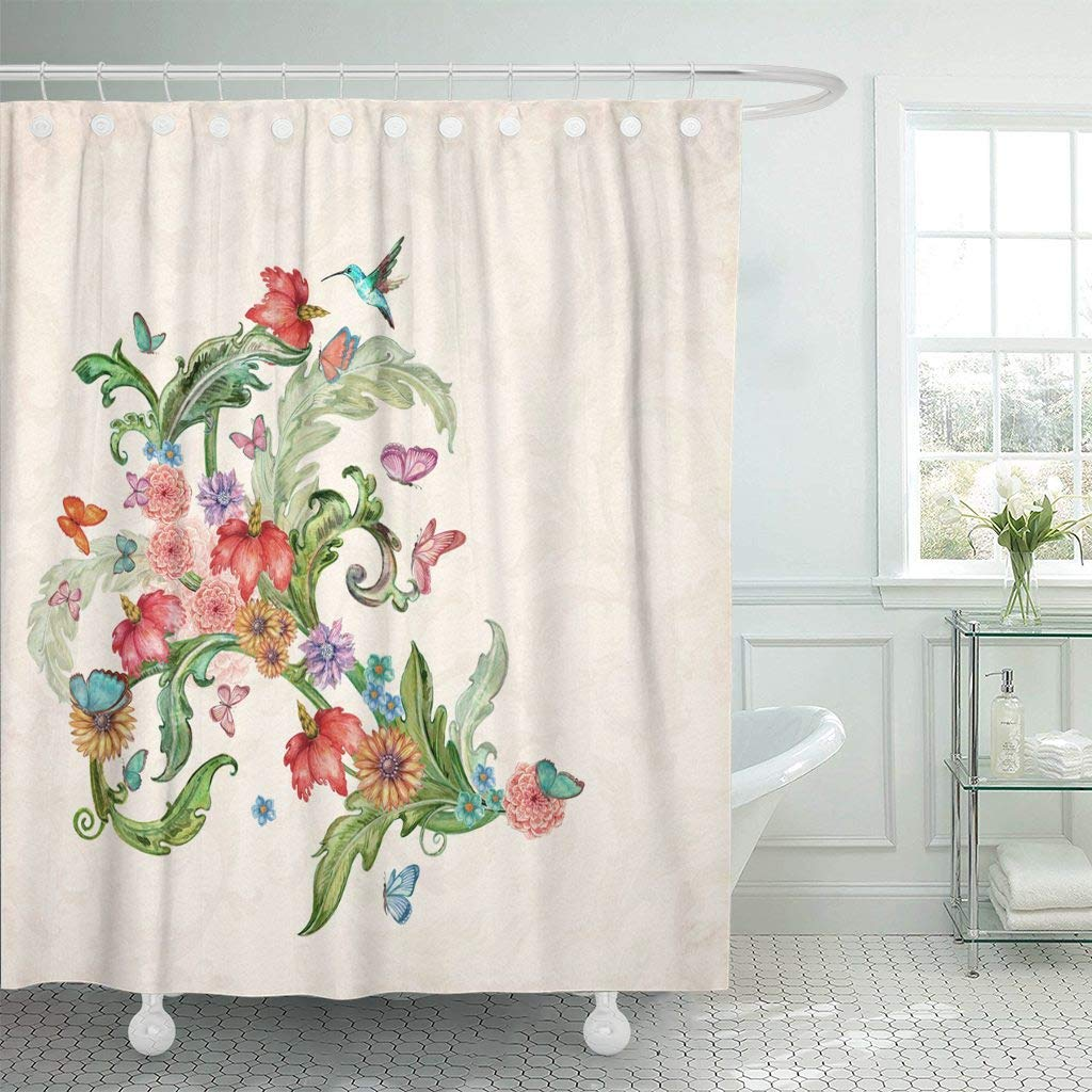 Shower Curtain Green Border With Fancy Flora And Birds Watercolor Painting Hummingbird Antique Baroque Decorative Bathroom