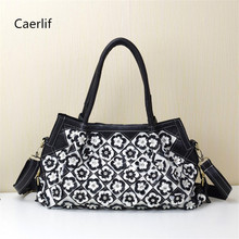 Caerlif 2016 fashion Real 100% Genuine Natural Leather Patchwork Handbags flowers Women Messenger Bag Purse Colorful big totes