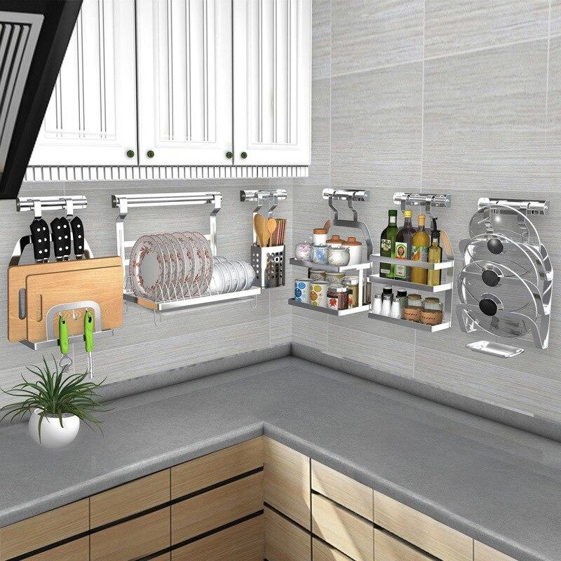 DIY Kitchen Rack Stainless Steel Kitchen Shelf Dish Racks Pan Cover Lid Storage Kitchen Organizer Tools Полка