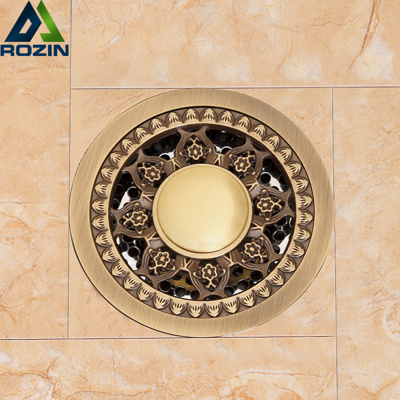 Round 4 Bathroom Floor Drain Antique Brass 10cm Shower Drain Bathroom Waste Grate Drain Kitchen Waste Drain Bathroom Accessary modern new oil rubbed bronze bathroom shower square floor drain washer grate waste drain 4 page 1