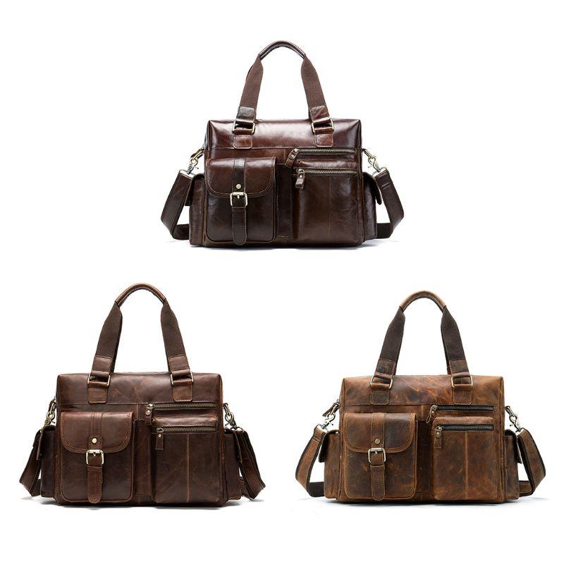 Мужская сумка из натуральной кожи, портфель, сумка для ноутбука, Большая вместительная сумка, высокое качество, дорожная сумка через плечо - 2