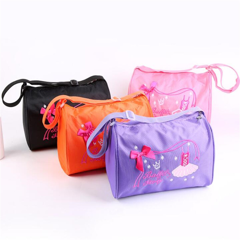 Children\'S Fashion Dance Bag Shoulder Bag Embroidery Ballet Shoes Pattern Dance Training Backpack Gym Multi-Function Bags