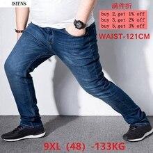 גברים של ג ינס מכנסיים למתוח גדול גודל גדול גודל 6XL 7XL 8XL 9XL סתיו קלאסי מזדמן ג ינס בית 44 46 48 אלסטי