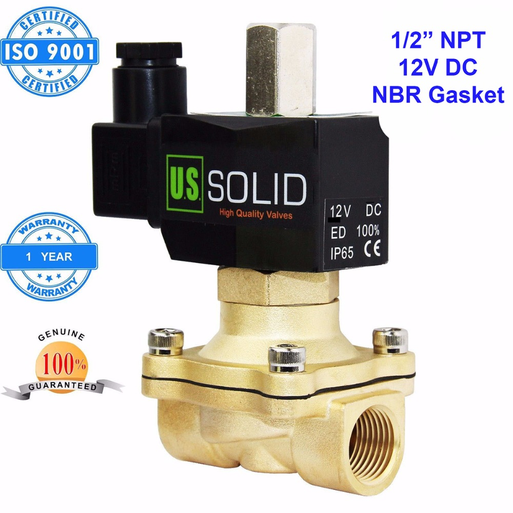 U.S. Solid 1/2 inch Brass Electric Solenoid Valve 12V DC NPT Thread Normally Open water, air, diesel.. ISO Certified