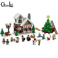 GonLeI chica de la serie 39015 de Cenicienta es Navidad cabaña educativos bloques de construcción de juguete de ladrillo compatible 10249