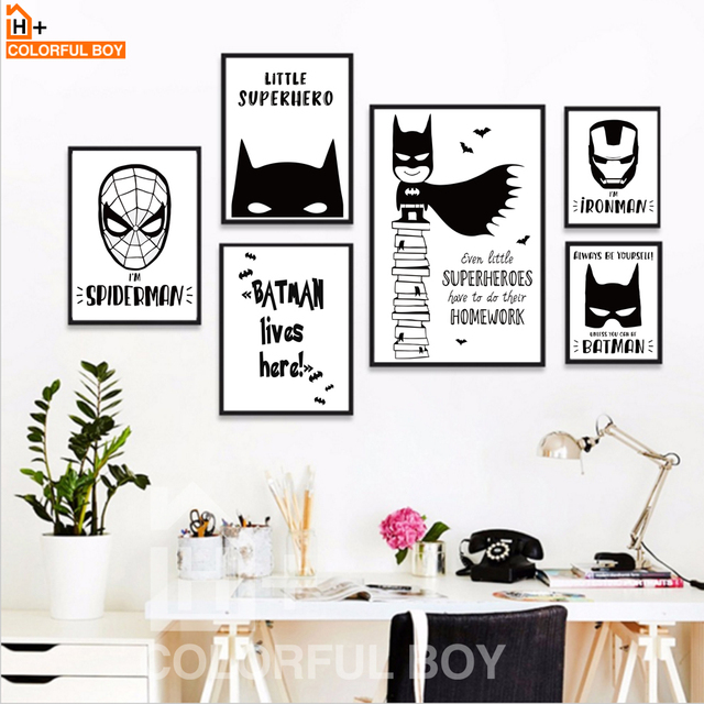 Colorfulboy modern superhero batman spiderman canvas painting for kids boy room black white art print poster