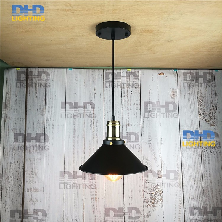 D22cm iron black shade Pendant Light RH LOFT Industrial Warehouse Lamp Dining Room Den Bedside Bar Iron Pendant Lamps