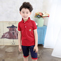 The New 2016 British Virgin Children Suit Boys Unlined Upper Garment Summer Two-piece Wave Point Children's