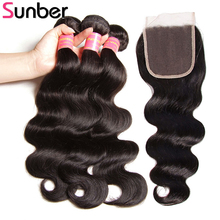 hot deal buy sunber hair body wave human hair bundles with closure malaysian hair weave bundles with closure remy hair 3 bundles with closure