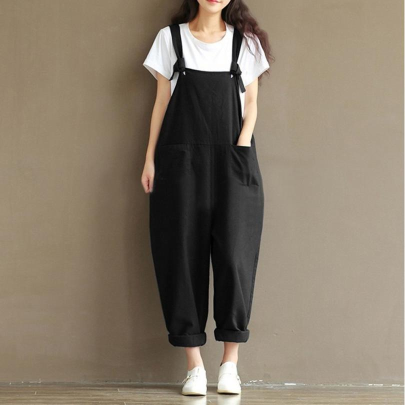 2018 New Rompers Womens Jumpsuits Casual Vintage Sleeveless Backless Loose Solid Overalls Strapless Paysuits Plus Size #HB4650