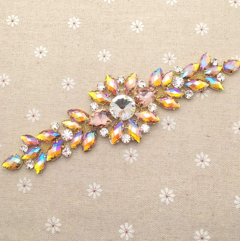18,2*5,5 cm Gold AB kristall Goldene Basis Blume strass applique Gürtel hochzeit abendkleid Dekoration nähen auf Rhinestones
