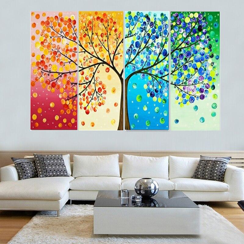 NEW 4 Pieces Seasons Tree Mosaic FULL Diamond Embroidery ...