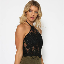 [Cuitatos] Women Fashion Summer Autumn Tanks Girl Sexy Party Wear Black Gold Lace Embroidery With Zipper Back Tops