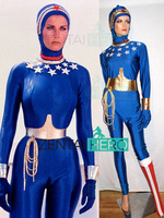 Free Shipping New Lynda Carter Wonder Woman Cosplay Costume Wonder Woman Spandex Superhero Bodysuit For Halloween Open Face