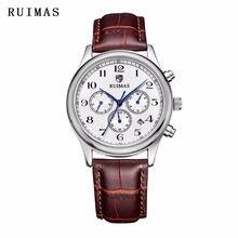 2d0dd28d404 RUIMAS Marca de Luxo Relogio masculino Relógio Mecânico de Couro Populares relógios  de Pulso Relógios Dos Homens À Moda Suaves E..