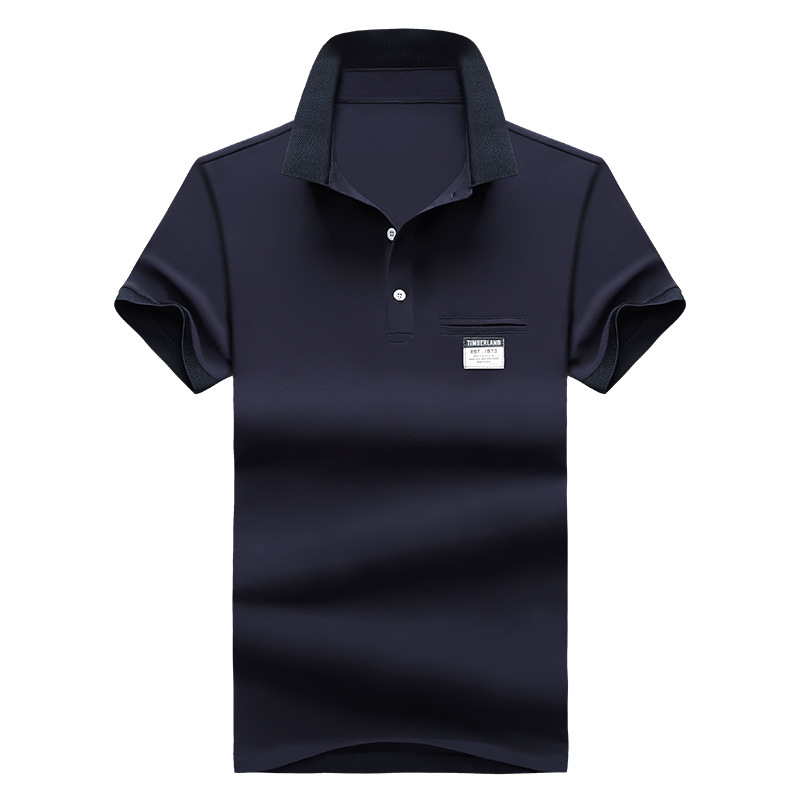 Mens Polo Shirt Summer Style Men Business Casual Solid Color Short Sleeve Polo Shirt Slim Cotton Polo Shirt Men Fake Pocket 26