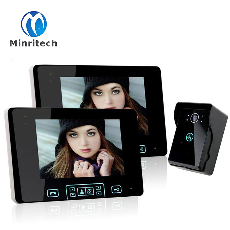 New 7 TFT LCD WiFi Wireless Visual Intercom Doorbell Night Vision Video Recordable Visual 2 Monitor+1 Touch Camera Doorbell