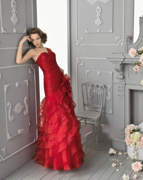 New Arrival Model One Shoulder Sweetheart Ruffles Organza Floor Length Long Red Formal Gowns   Prom     Dresses