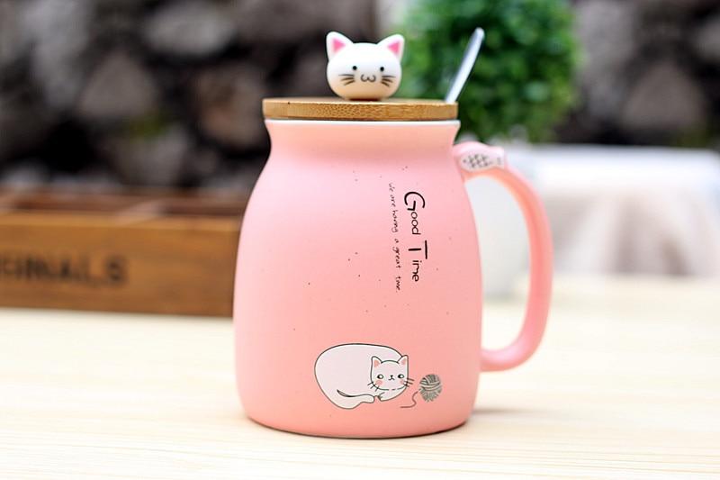 HTB1isVQl5MnBKNjSZFzq6A qVXaV 450ml Cartoon Ceramics Cat Mug With Lid and Spoon Coffee Milk Tea Mugs Breakfast Cup Drinkware Novelty Gifts