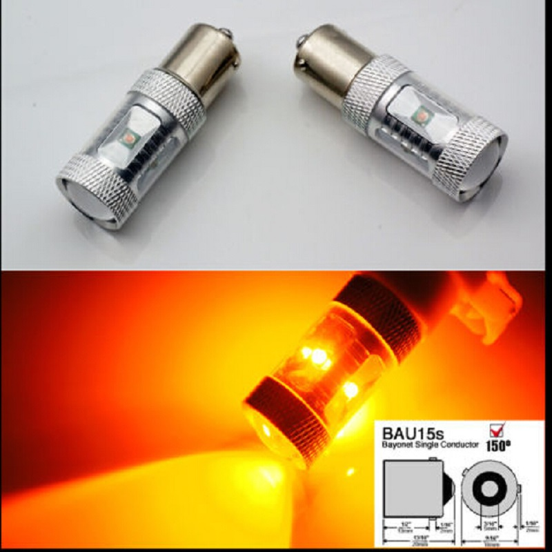 2pcs/lot 30W Bau15s 7507 PY21W High Power CREE Chips LED Turn Signal Light Bulb White Amber new 2x80w 1156 bau15s 7507 py21w high power cree chips car led turn signal light bulb yellow