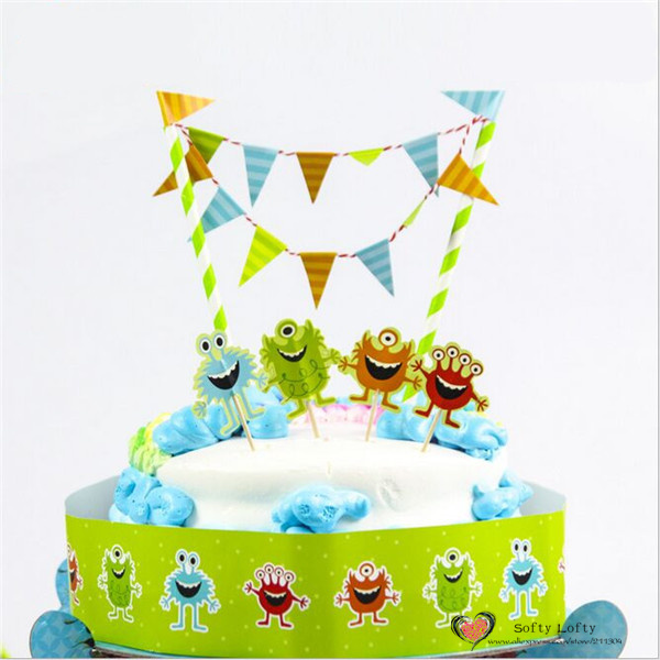 Free Shipping 1 Set Birthday Cake Paper Crafts Figures Flags Banner