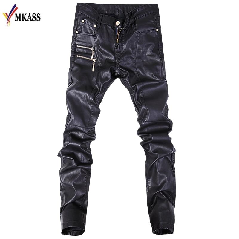 New Autumn Biker Skinny Men Gothic Punk Fashion Faux Leather Pants PU Buckles Hip Hop Zippers Black Leather Trousers Male