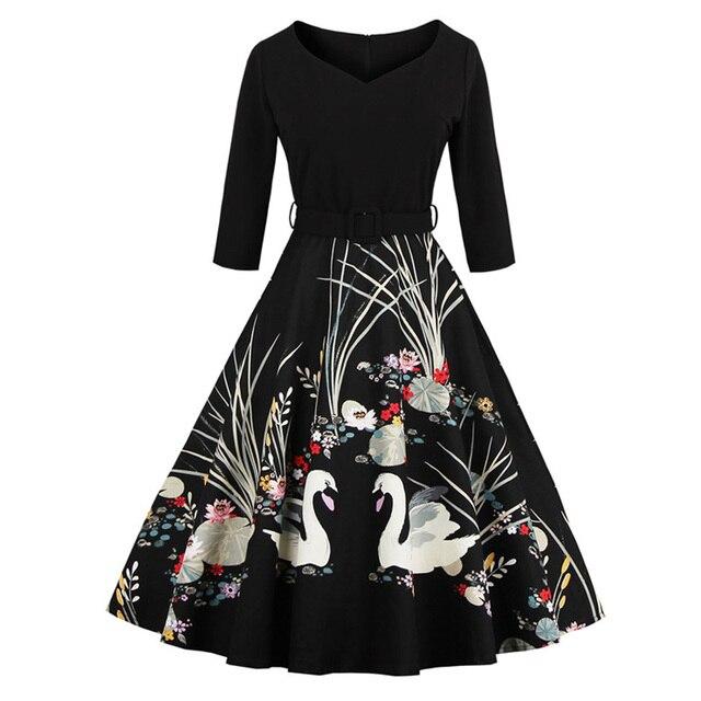 58a1d5e8eced2 Womens Swan Print Robe Sexy V-Neck Black Rockabilly Dress 3/4 Sleeve 50s  60s Style Swing Vintage Party Dresses Plus Size 3xl 4xl