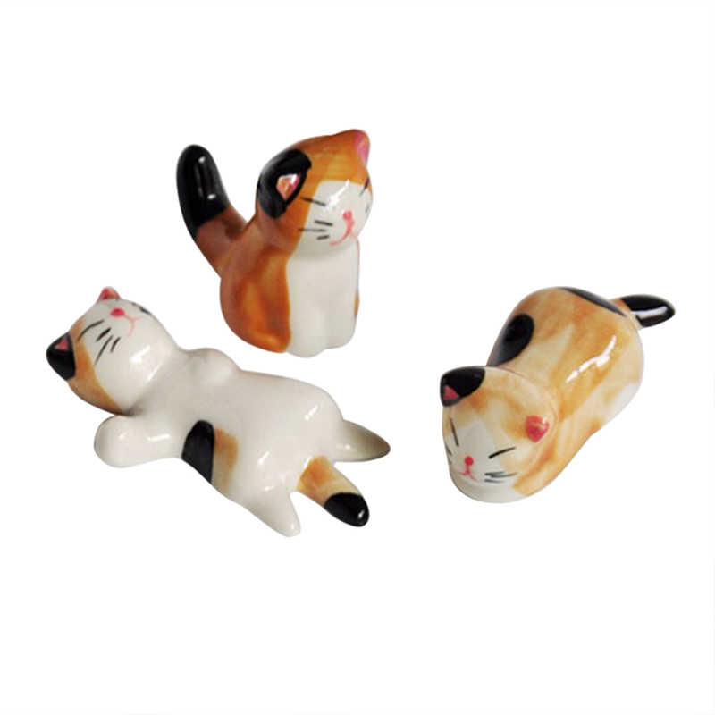 3 Pcs Gaya Jepang Keramik Sumpit Pemegang Stand Cute Cat Design Sumpit Rak Bantal Perawatan Istirahat Dapur Seni Kerajinan Peralatan Makan