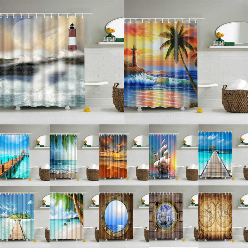 high quality 3d Seascape Pattern polyester shower curtains fabric bathroom screen with hooks home decoration bath curtain