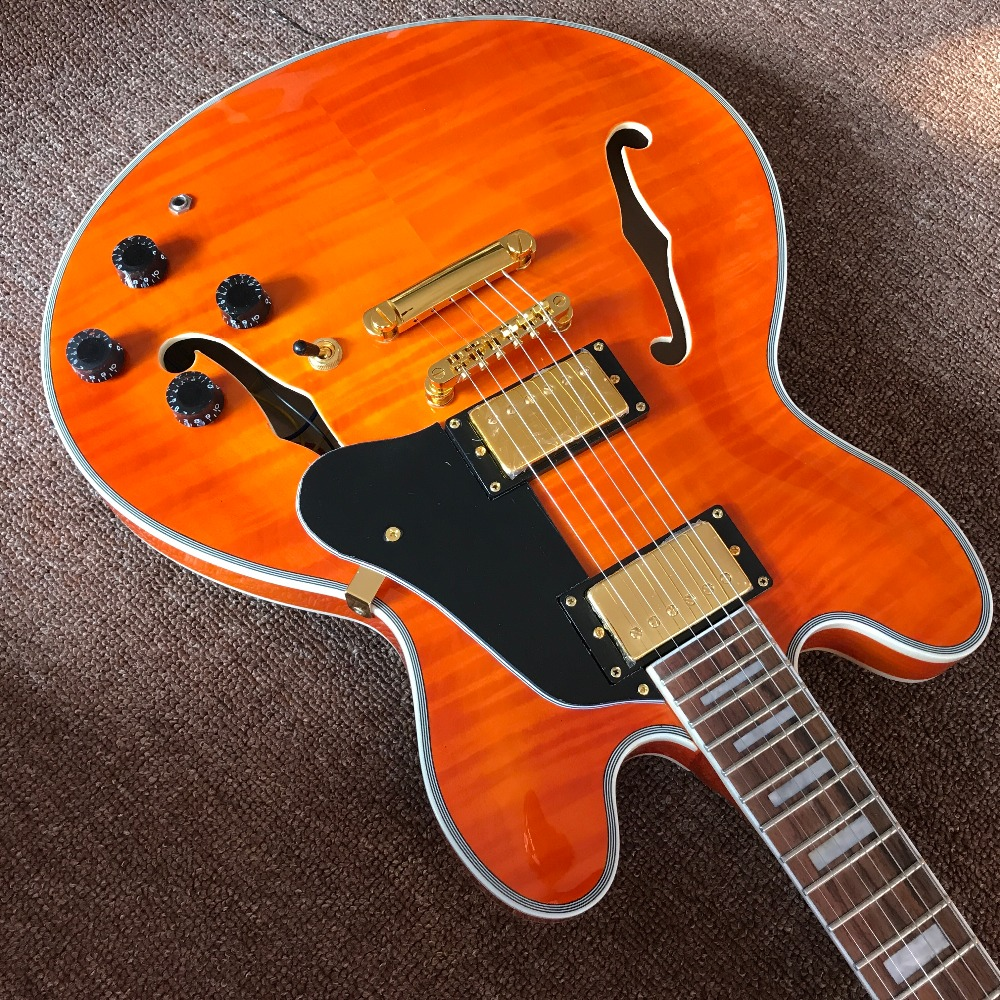 chinese jazz electric guitar guitar in orange color flamed maple top and back high quaity. Black Bedroom Furniture Sets. Home Design Ideas