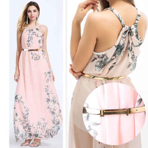 Mujeres verano sin mangas largo vestido floral Maxi noche fiesta playa vestidos Sundress Z3