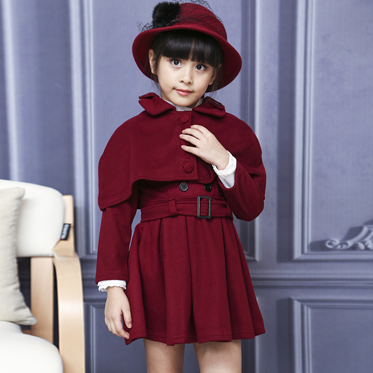 ФОТО 2016 Autumn Girl Wollen Coat Kids Dress with Tippet Outfits Two Pieces Dress Children's Clothing Belt Adjustable