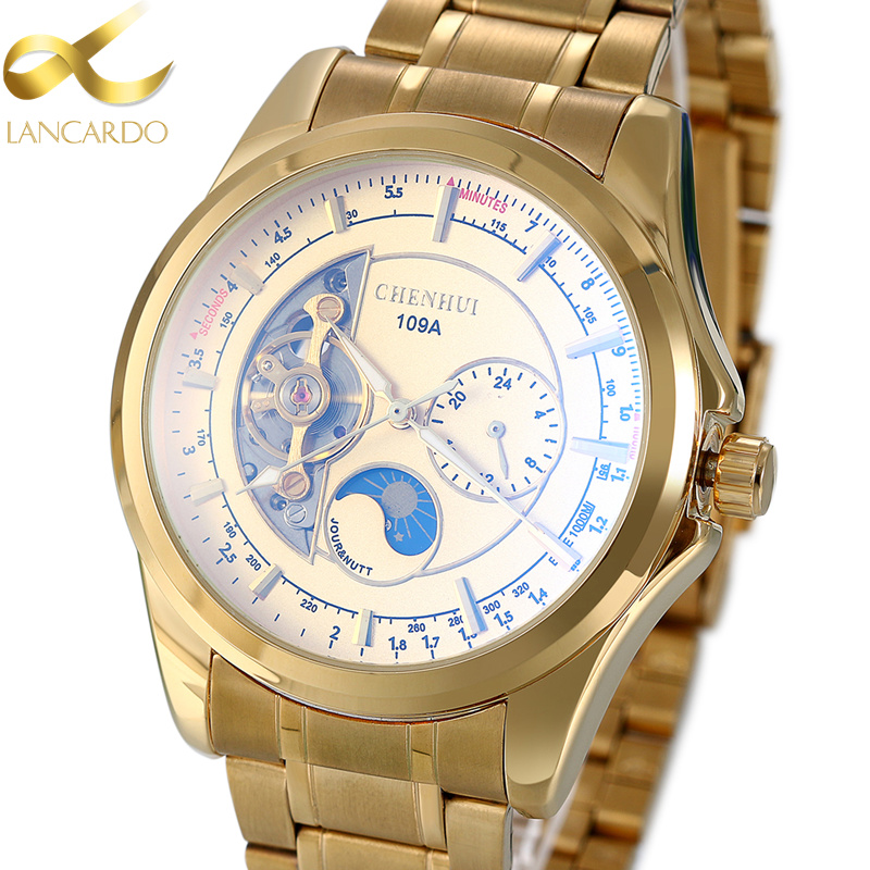 Man Mechanical Watch Luxury Brand Lancardo Men's Business Stainless Steel Watches Skeleton Automatic Mechanical Gold Watches tevise fashion auto date automatic self wind watches stainless steel luxury gold black watch men mechanical t629a with tool