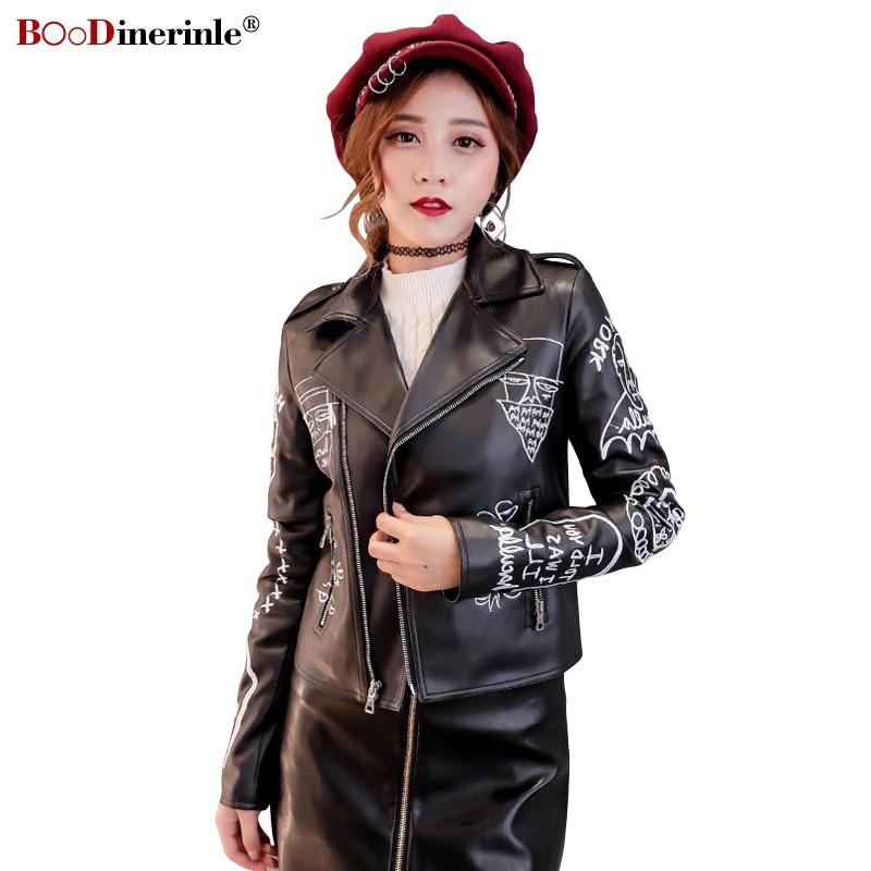 BOoDinerile Women's PU   Leather   Jacket 2019 Spring Embroidery Short Motorcycle Jacket Female Black Lapel Zipper Streetwear Coat