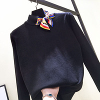 quality ! Europe spring 2018 Korean female turtleneck sweater knit lace bow tie all match long sleeved pullover top knit shirt
