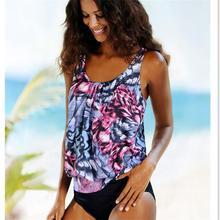 все цены на 2018 Floral Print Striped Bikini Set Wire Free Summer Bathing Low Waist Female Swimming Suit Triangle Padded Bikinis онлайн