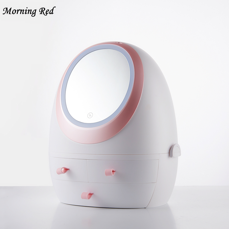 2019 nouveau lumière LED HD miroir cosmétique pour coiffeuse maquillage organisateur boîte de rangement beauté produits de soins de la peau poubelle en plastique