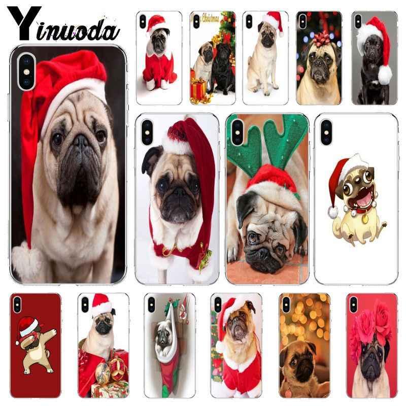 Yinuoda คริสต์มาส Pug ใหม่เปิดตัวครอบคลุมสำหรับ iPhone i8 i7 i6 i6S Plus i5S iX iXR XS MAX ฝาครอบ